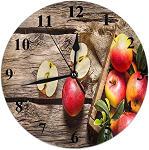 HOSNYE Fresh Red Apples Wall Clock Wooden Box Wooden Background Clocks Decor for Home Office Bedroom Living Room Kitchen Decor Non Ticking 10 inch