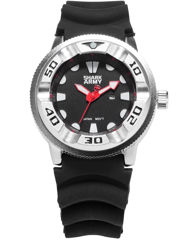 SHARK ARMY SAW103 - Reloj Hombre de Cuarzo, Correa de Silicona Negra: Amazon.es: Relojes