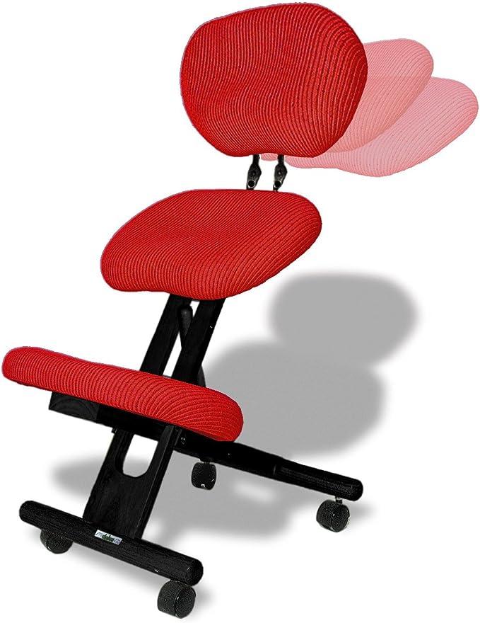 cinius Chaise Ergonomique Professionnelle sans Dossier Couleur Naturelle//Rouge