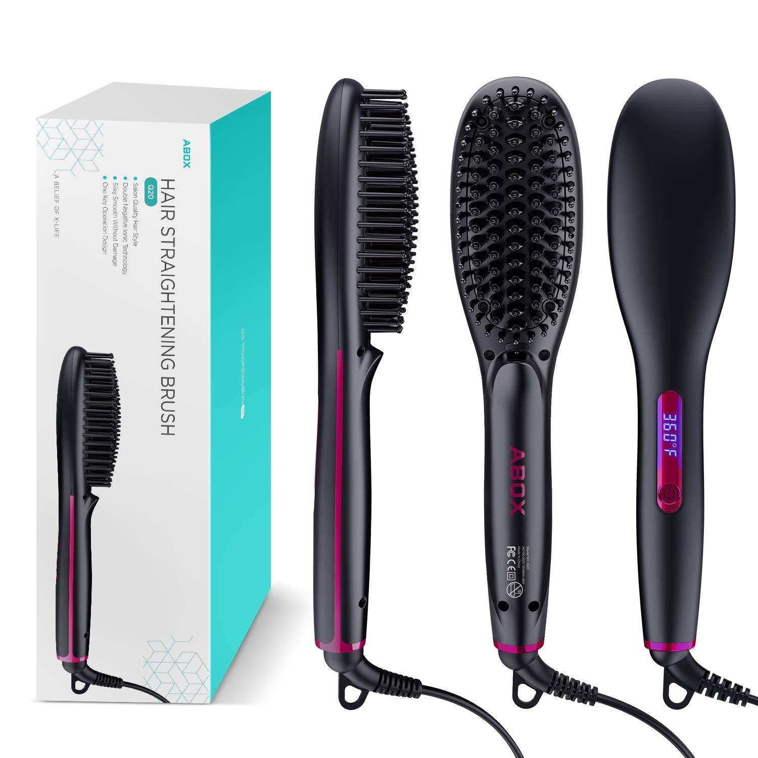 Hair Straightener Brush, ABOX Electric Ionic Hair Straightening Brush, PTC Straightener Comb with Anti-Scald Feature, LED Display + Adjustable Temperatures, Auto Temperature Lock and Auto-Off Function by ABOX