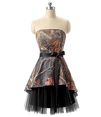 f696b9cdb21 macria Women s Strapless Camo Mini Junior Homecoming Dresses Bridesmaids  Gown Size 2 Black