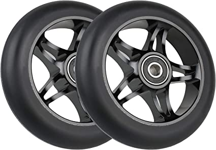 2x 110mm Skateboard Parts Kick Scooter Wheel//Roller For Pro Scooter Black