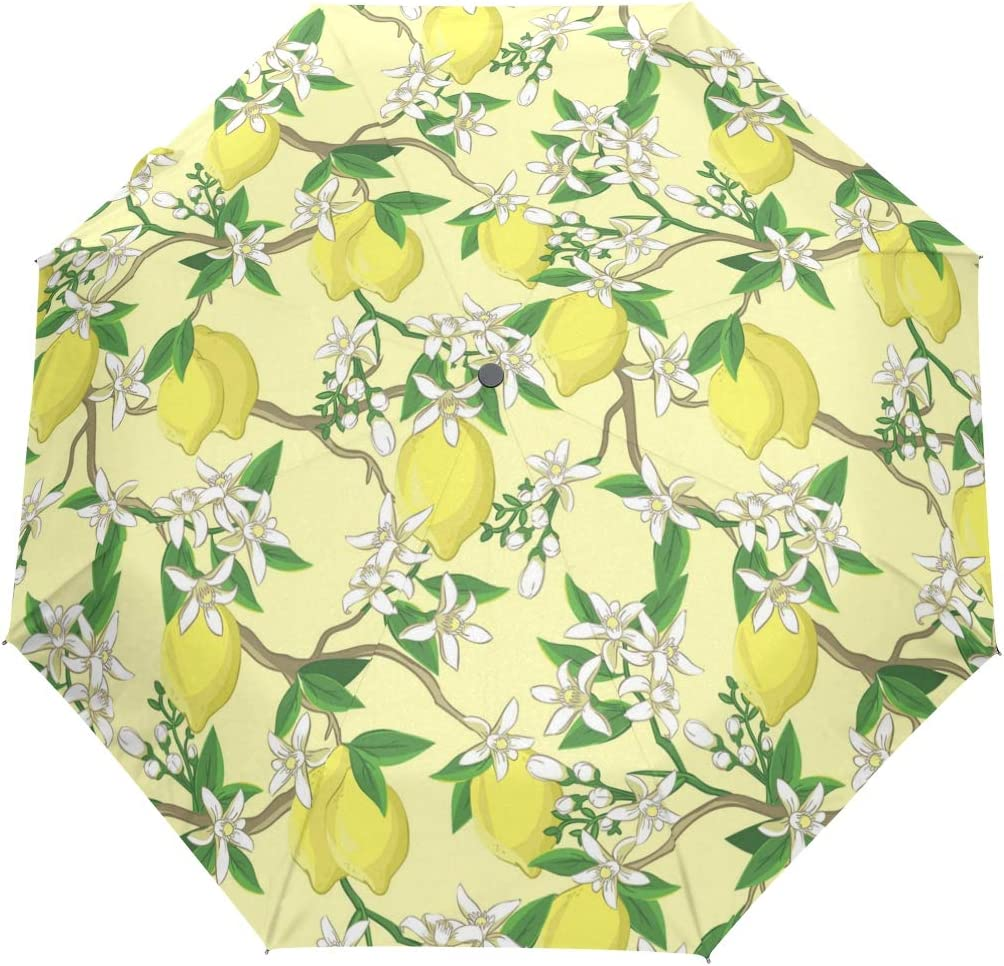 Lemon Twigs Is Blooming fashion print cute Windproof automatic tri-fold umbrella sun UV protection Sun umbrella