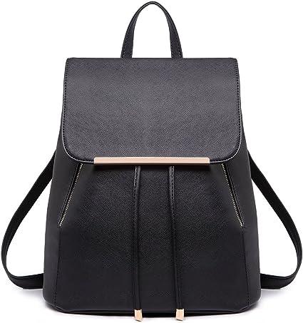 Miss Lulu Ladies Fashion PU Leather Backpack Rucksack Shoulder Bag light grey