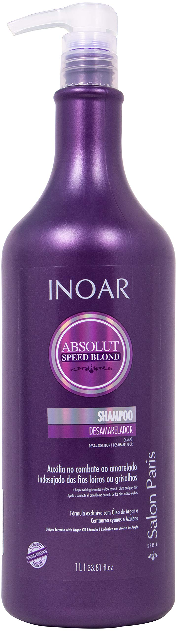 INOAR PROFESSIONAL - Speed Blond Shampoo - Anti-Yellowing Treatment For Bleached, Blond, Brassy & Gray Hair Types (33.8 Ounce / 1000 Milliliter) by Inoar