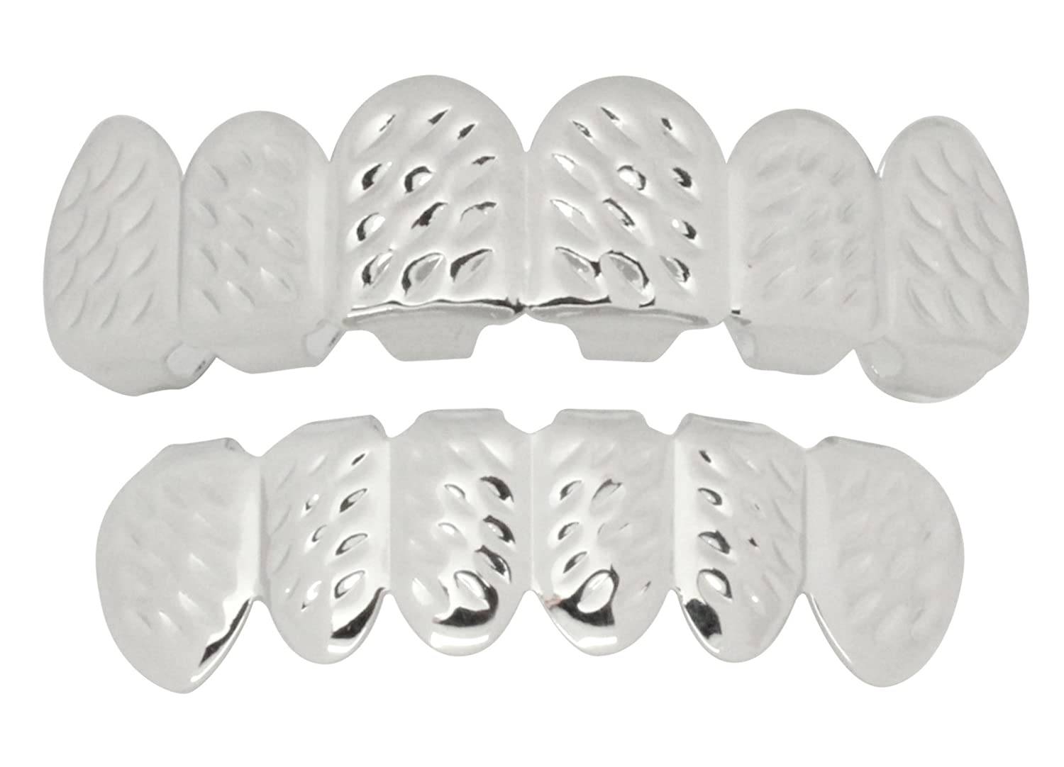 NewAgeBling Diamond Cut Custom Fit Grills Silver Tone Top Bottom Hip Hop Teeth Grillz Best Grillz 201