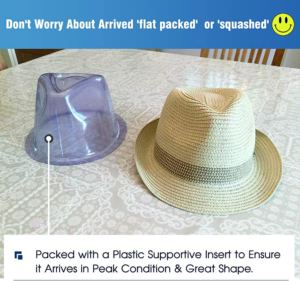 Comhats Foldable Mens Womens Straw Trilby Fedora Panama 100/% Raffia Summer Beach Sun Hat Safarai Sunhat Cruise Accessories Adjustable Beige Orange L 59-61CM