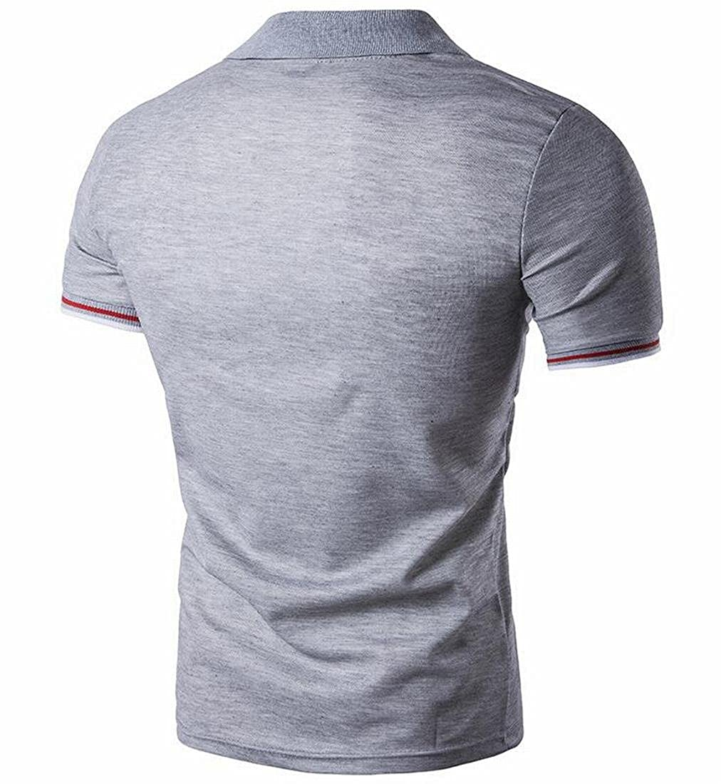 Bravepe Mens Classic Slim Fit Lapel Contrast Short Sleeve Business