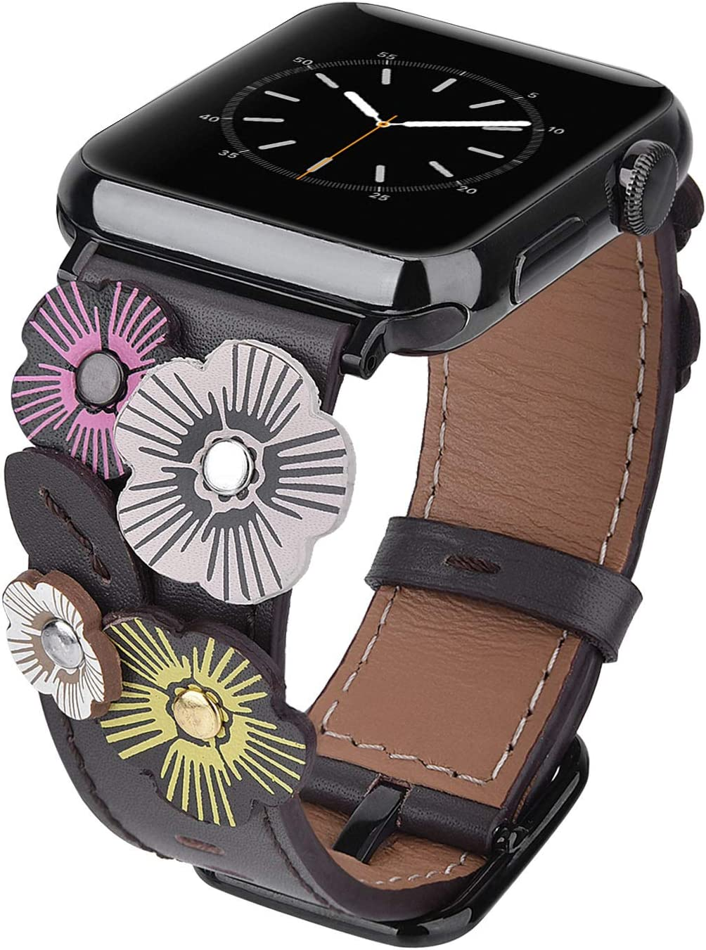 V-MORO Flowers Leather Bands Compatible with Apple Watch Bands 38mm 40mm Series 4/3/2/1 Women with Stainless Steel Buckle Black, iWatch Replacement Bands Strap Wristbands (Gray, 38mm/40mm)