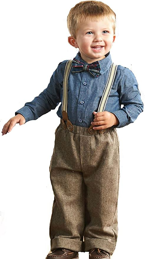 1930s Childrens Fashion: Girls, Boys, Toddler, Baby Costumes Mud Pie Baby Boys Tweed Suspender Pants Set  AT vintagedancer.com