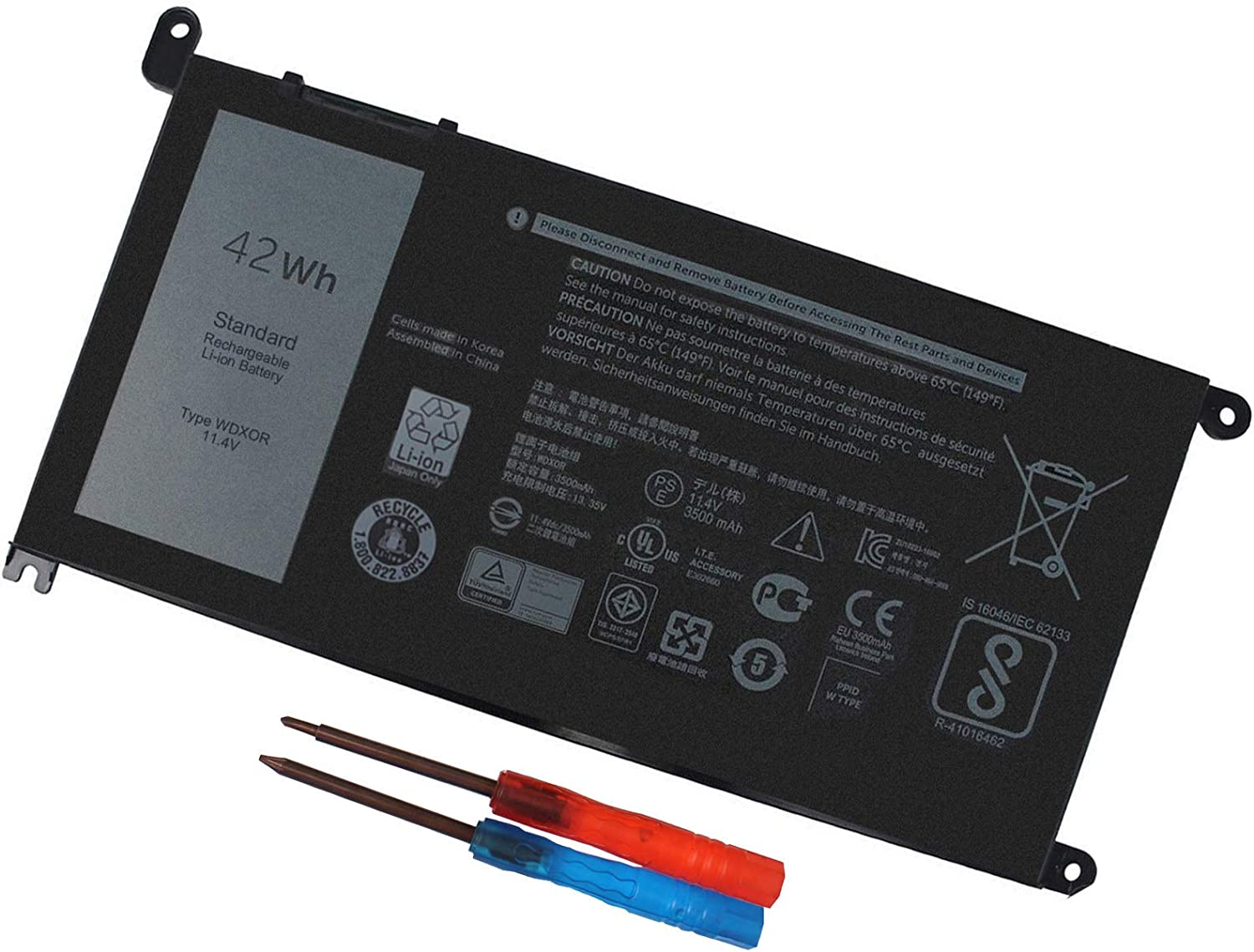 WDX0R Laptop Battery for dell Inspiron 15 7579 7569 5578 5565 5567 5568 5570 5775 5579 7560 7570 13 5378 5368 7375 7368 7378 17 5765 5767 5770 Series P69G001 P58F P58F001 P75F P66F P69G 3CRH3