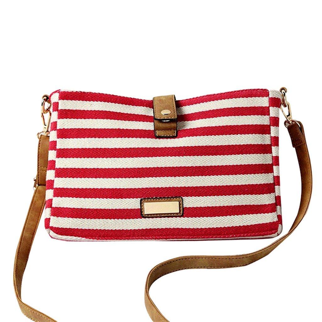 Softmusic Striped Canvas Shoulder Bag Casual Simple Satchel Crossbody Bag for Women
