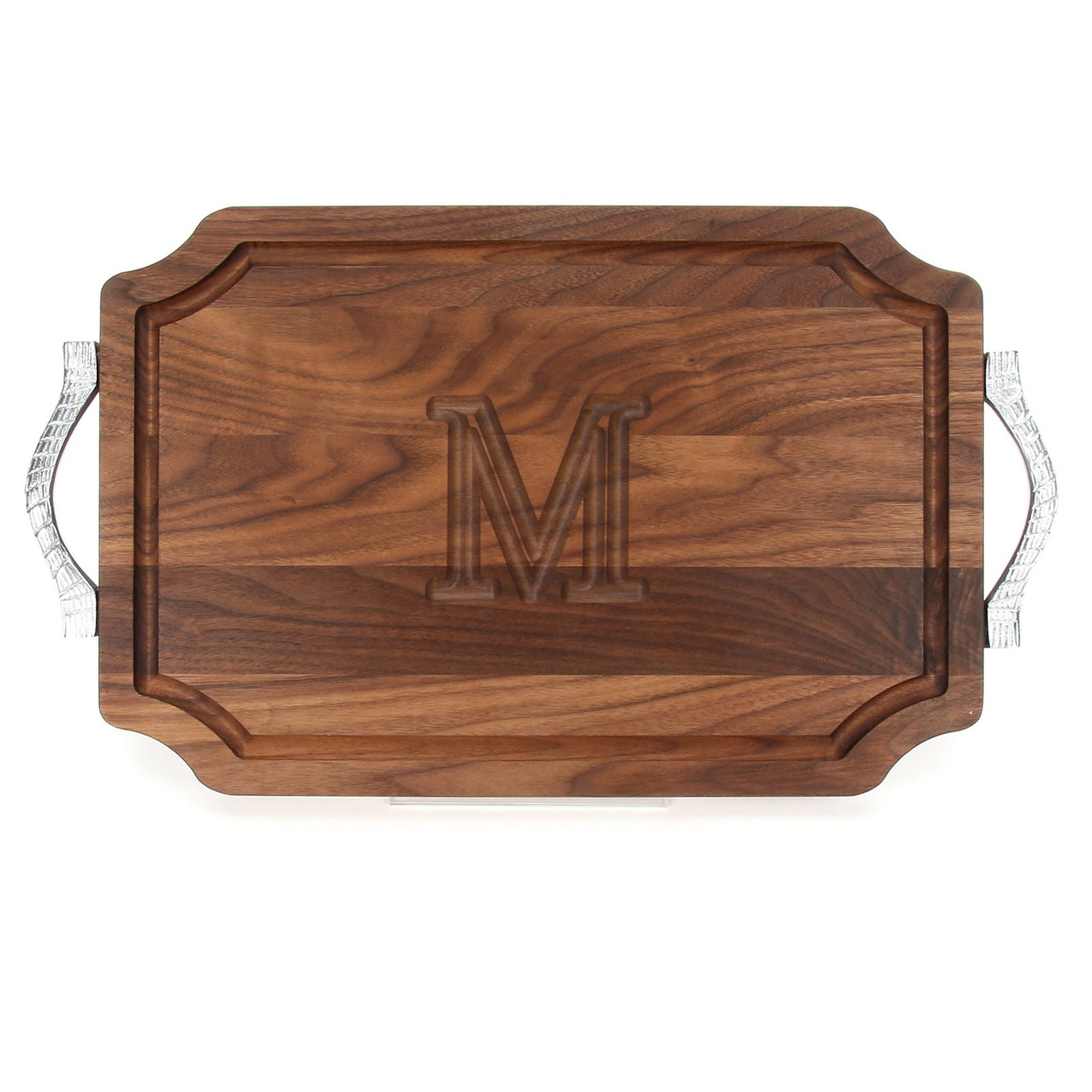 BigWood Boards W310-RP-M Cutting Board with Rope Handle in Cast Aluminum with Scalloped Corners, 12-Inch by 18-Inch by 1-Inch, Monogrammed ''M'', Walnut