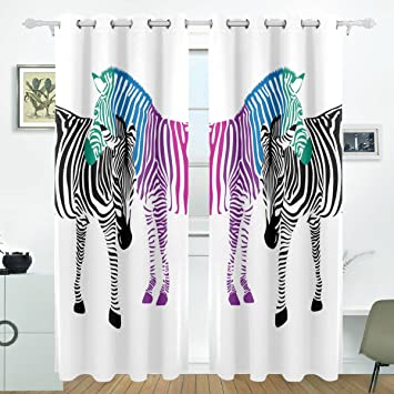 Amazon De Jstel Zebra Paar Schwarz Und Bunte Vorhange Panels