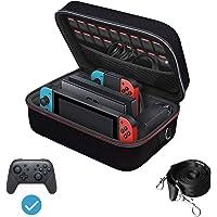 iVoler Deluxe Case Hoesje compatibel met Nintendo Switch, Draagbaar beschermende Harde messengertas Stijve schokbestendige draagtas met karabijnhaak en 18 gamedeuren voor switch console en accessoires