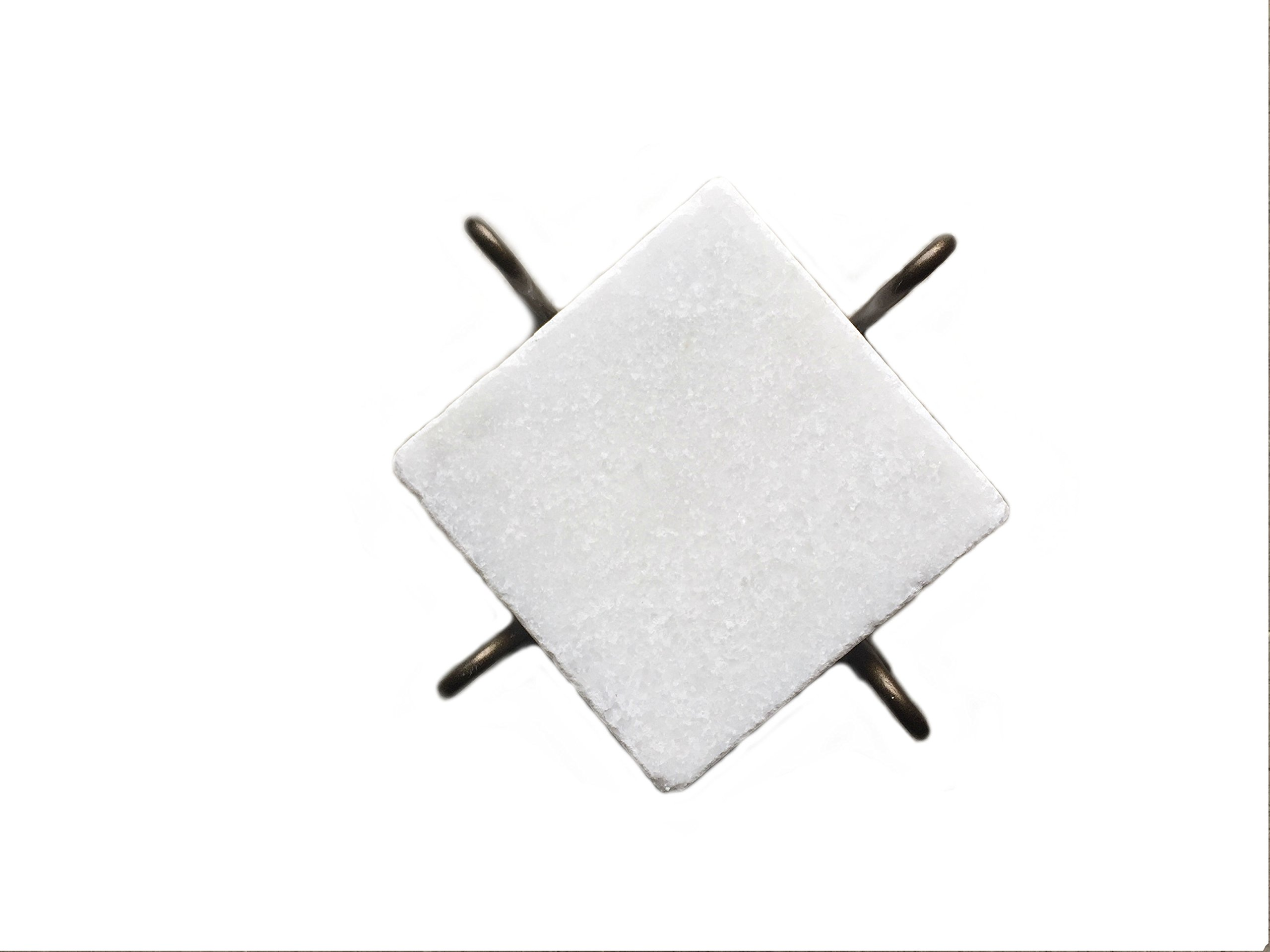 Infusion Marble Drink Coasters (set of 4) with Flat Scroll Metal Holder