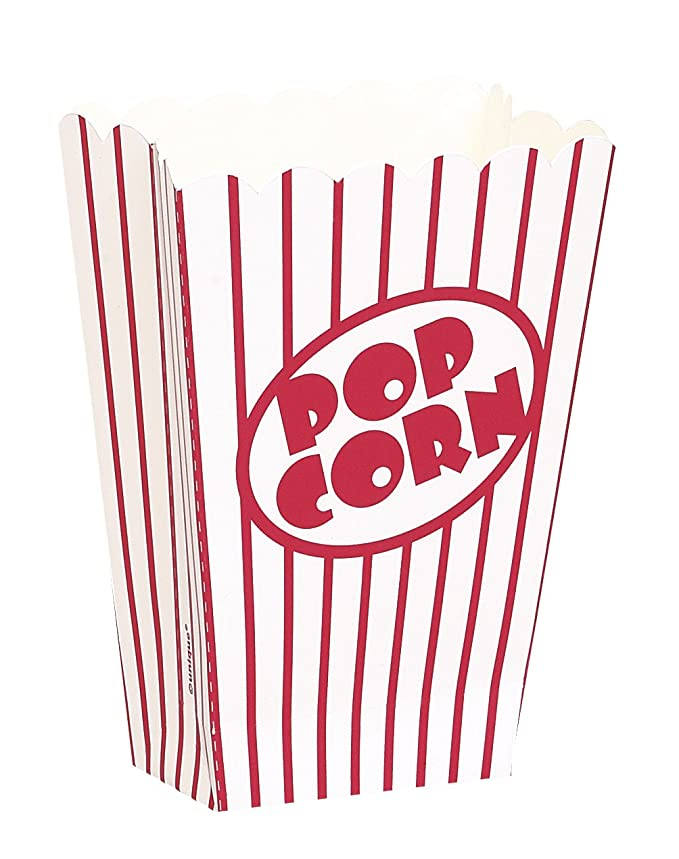 Unique Party- Pop Corn Paquete de 8 cajas pequeñas para palomitas, Color (59023)