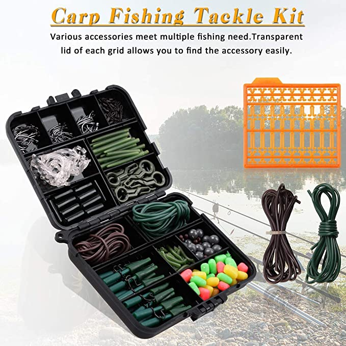 Safety Leader Clips and Tubes Tubing,Carp Swivels Beads Sleeves Boilie Stops with Tackle Box Sweet Corns 307pcs Carp Fishing Tackle Box Kit Include Curve Shank Carp Fishing Hooks