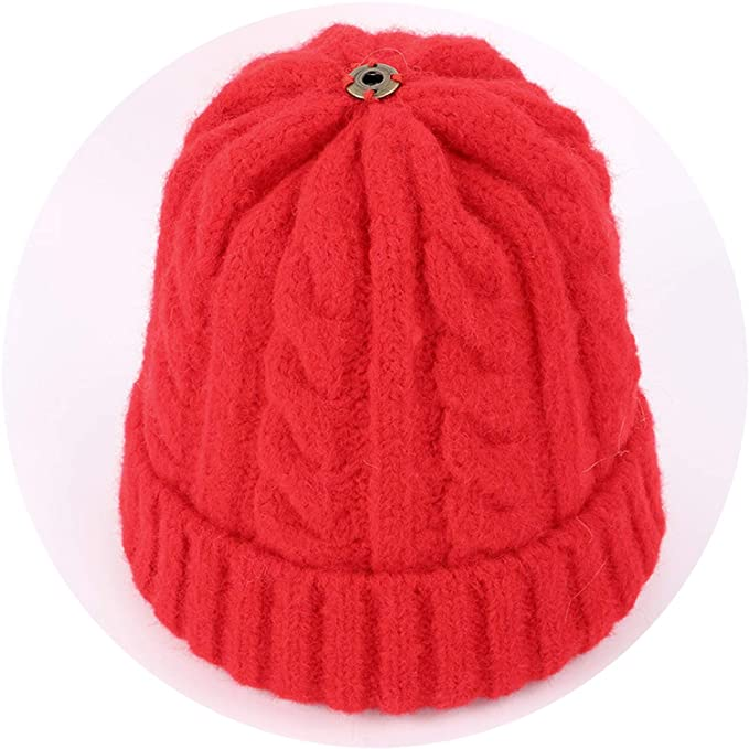 12642588ce38b Amazon.com  Wool Knit Beanies Fur Pom-Pom Soft Cap Winter Hat ...