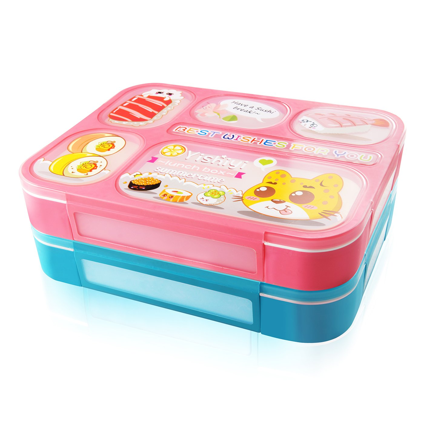 Microwave and Dishwasher-Safe Lunch Box with 6 Separate Sealing containers AckMond Lunch Bento Box 2 Pieces