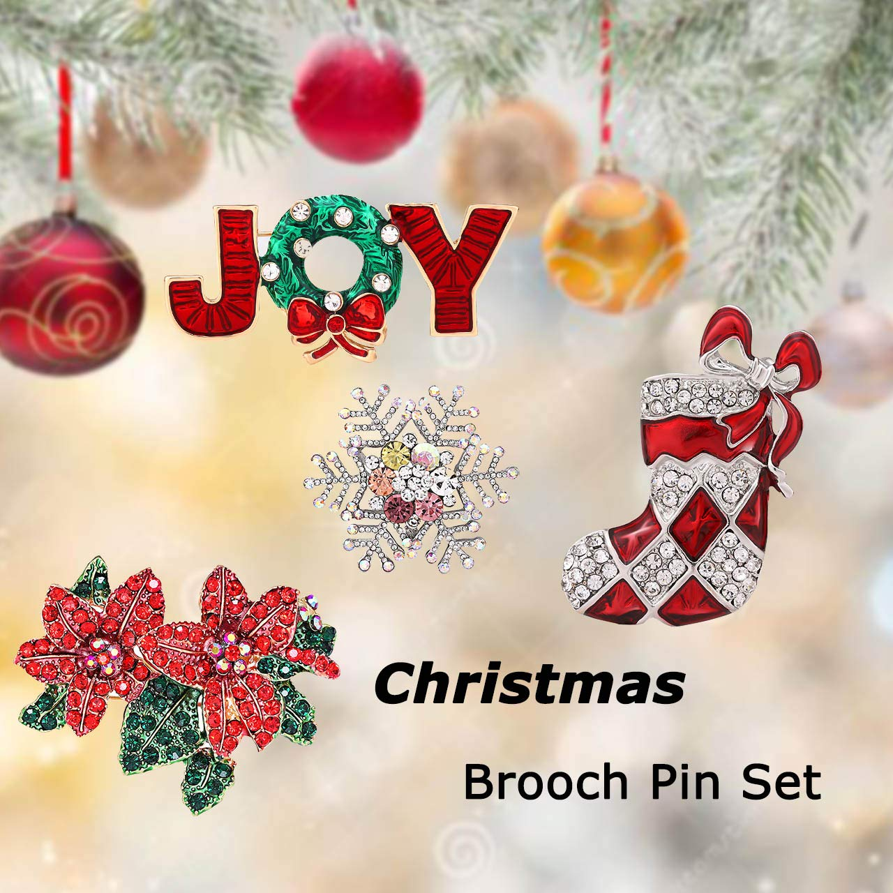 CEALXHENY Christmas Brooch Pins Set Crystal Christmas Tree Snowflake Reindeer Jingle Bell Brooches Holiday Party Gift for Women Girls