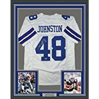 $399 » Framed Autographed/Signed Daryl Moose Johnston 33x42 Dallas White Football Jersey Beckett BAS COA