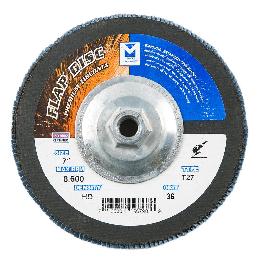 Mercer Industries 263H036 Zirconia Flap Disc, High Density, Type 27, 7'' x 5/8'' 11 Thread, Grit 36, 10 Pack