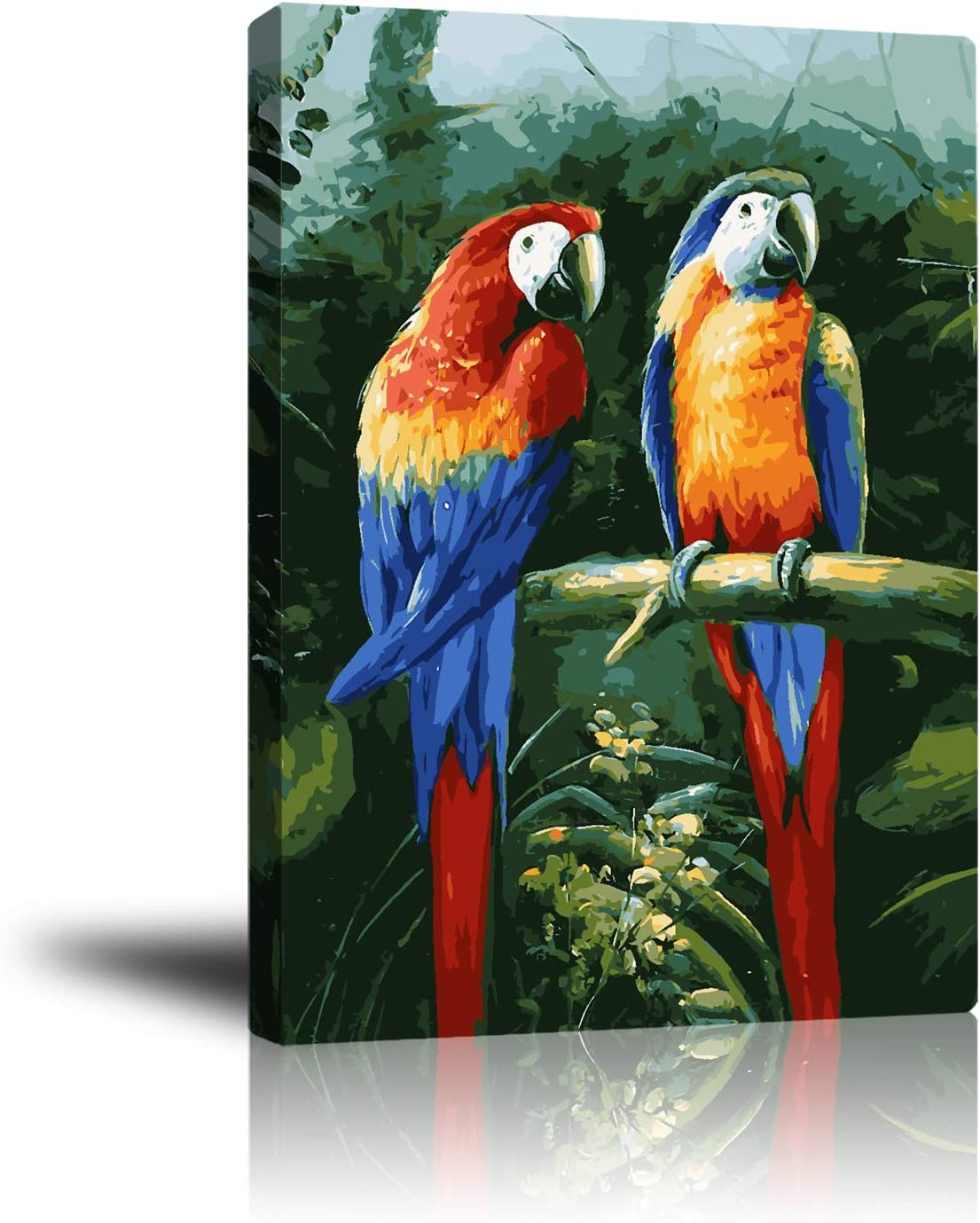 Unframed Canvas Wall Art, Birds Artwork Painting, Two Parrots in The Rainforest Pictures for Livingroom Bedroom Office Home Decorations, Ready to Hang 16x20inch