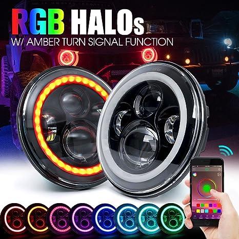 Green L 1 Paar Runde Led Scheinwerfer 17 8 Cm 7 Zoll 40 W Tagfahrlicht Fernlicht Mit Rgb Halo Angel Eye Per Bluetooth App Steuerung Musikmodus Rgb Auto