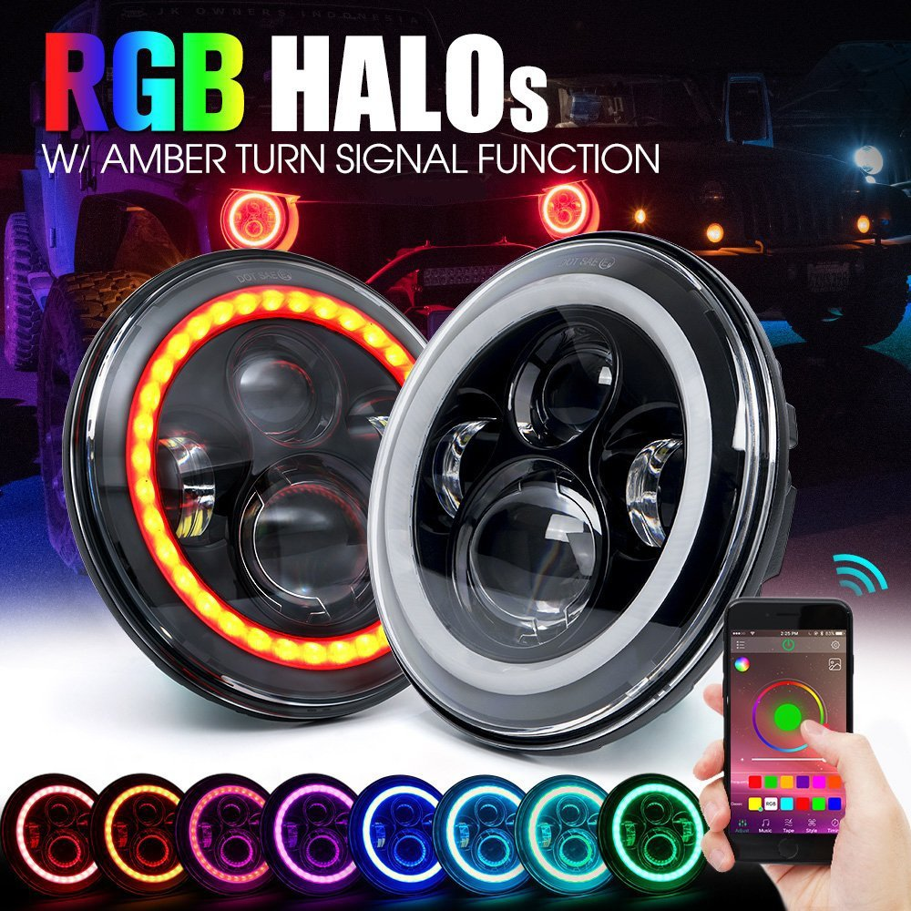 Green-L A Pair 7' 40W Round Led Headlights DRL Hi/lo Beam with RGB Halo Angel Eye by Bluetooth APP Control Music Mode RGB