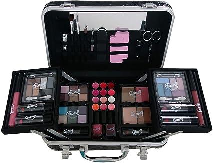 Gloss - caja de maquillaje, caja de regalo para mujeres - Maquillaje Case - Croco Leather Fashion Model - 62 piezas: Amazon.es: Belleza