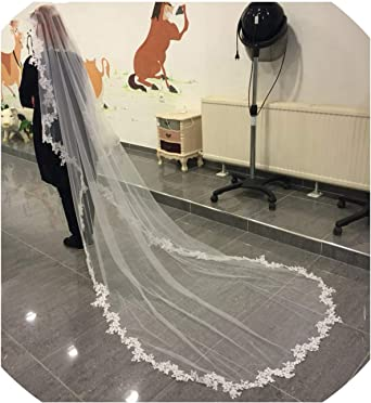 White Ivory Cathedral Wedding Bridal Veils Lace Applique Edge Veil With Comb 3M
