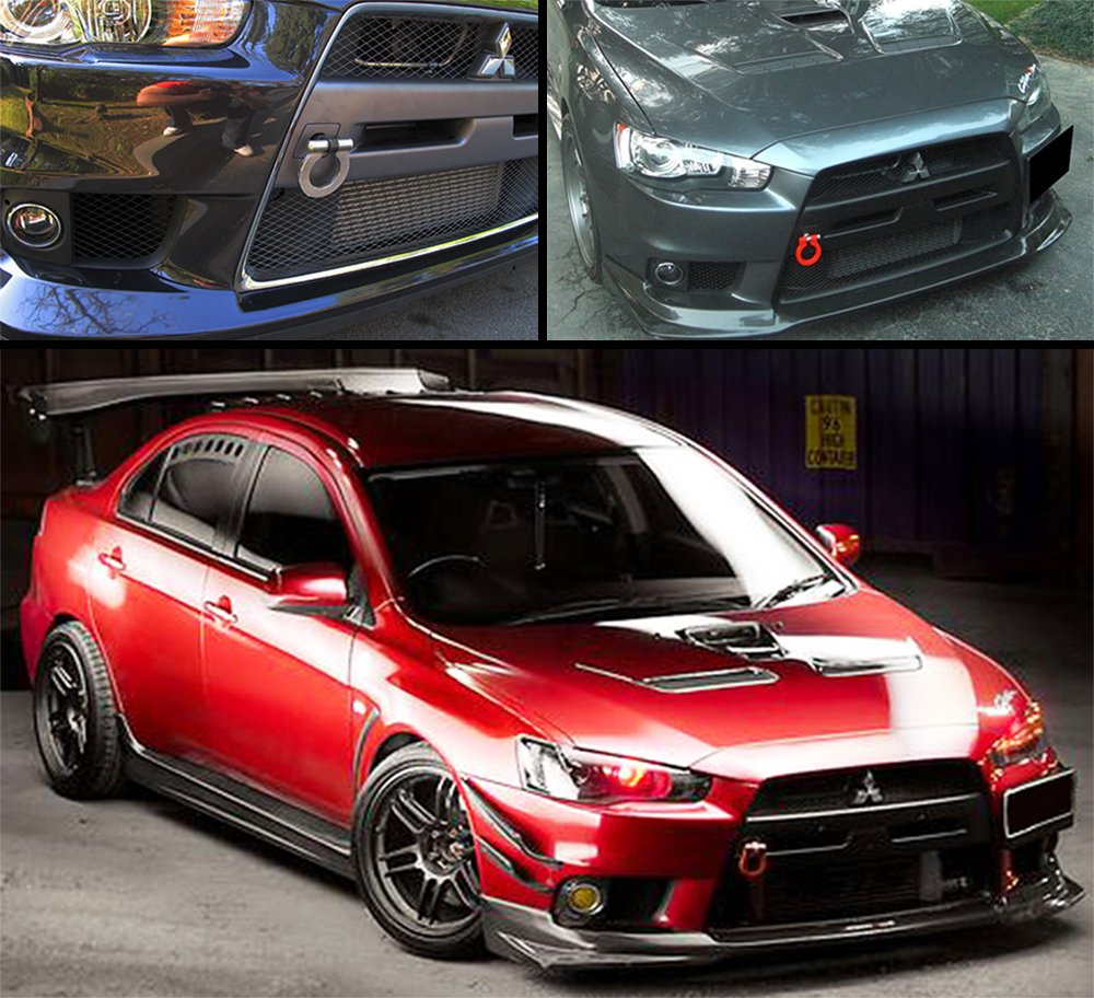 Cuztom Tuning Fits for 2008-2017 Lancer EVO X 10 MR Black Front//Rear Folding Ring Screw on Style Racing Tow Hook