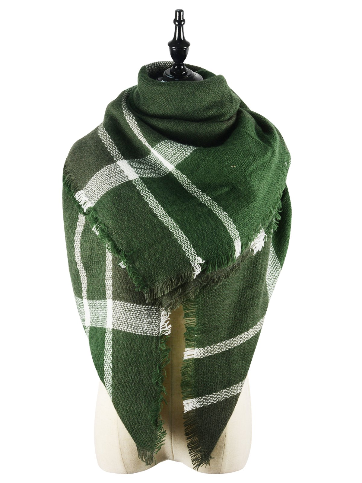 Womens Cozy Warm Plaid Blanket Scarf Winter Fall Large Square Soft Tartan Scarves Shawl Wrap Green Scarf