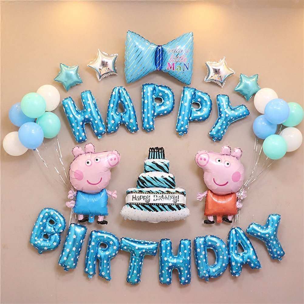 Amazon Cartoon Baby Birthday Party Balloon Decoration Set With Hand Held Air Inflator Peppa Pig Boy Health Personal Care