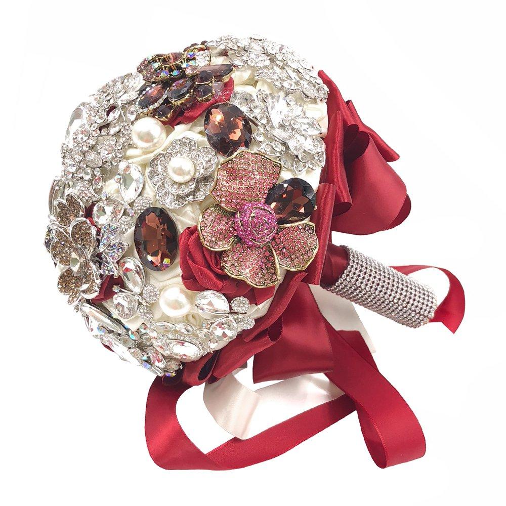 Abbieホーム手作りウェディングブライダルローズbouquet-advancedフル輝きラインストーンとGlaringパールCovered花嫁ブローチブーケ レッド 635 B078HMFP2H Bride Bouquet
