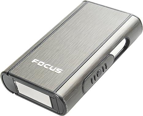 Imagen deFocus Estuche de Cigarrillos automático de Aluminio (9.5cm x 5.7cm x 1.8cm), de Color Negro, 464-02 DE
