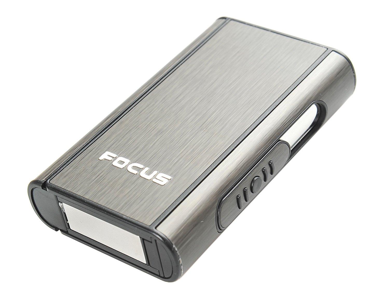 Focus Portasigarette automatico di alluminio (9.5cm x 5.7cm x 1.8cm), nero, Mod. 464-02 DE