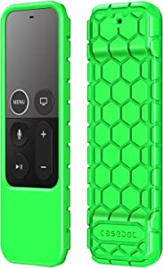 Fintie Protective Case for Apple TV 4K / HD Siri Remote (1st Generation) - Honey Comb Lightweight Anti Slip Shockproof Silicone Cover for Apple TV 4K 5th / 4th Gen Siri Remote Controller, Green