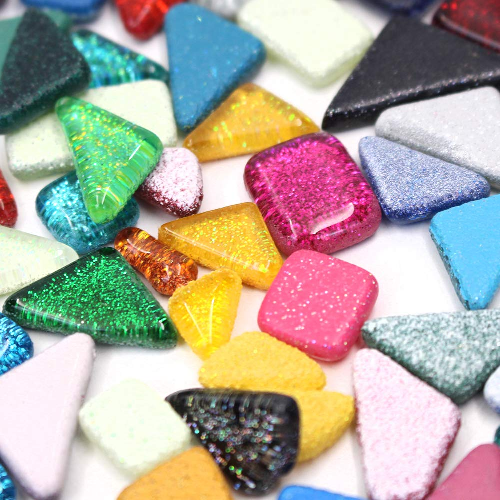 M-Aimee 230 Pieces//300G Assorted Colors Mosaic Tiles Glitter Crystal Mosaic for Home Decoration Crafts Supply Rohmbus Mixed Triangle