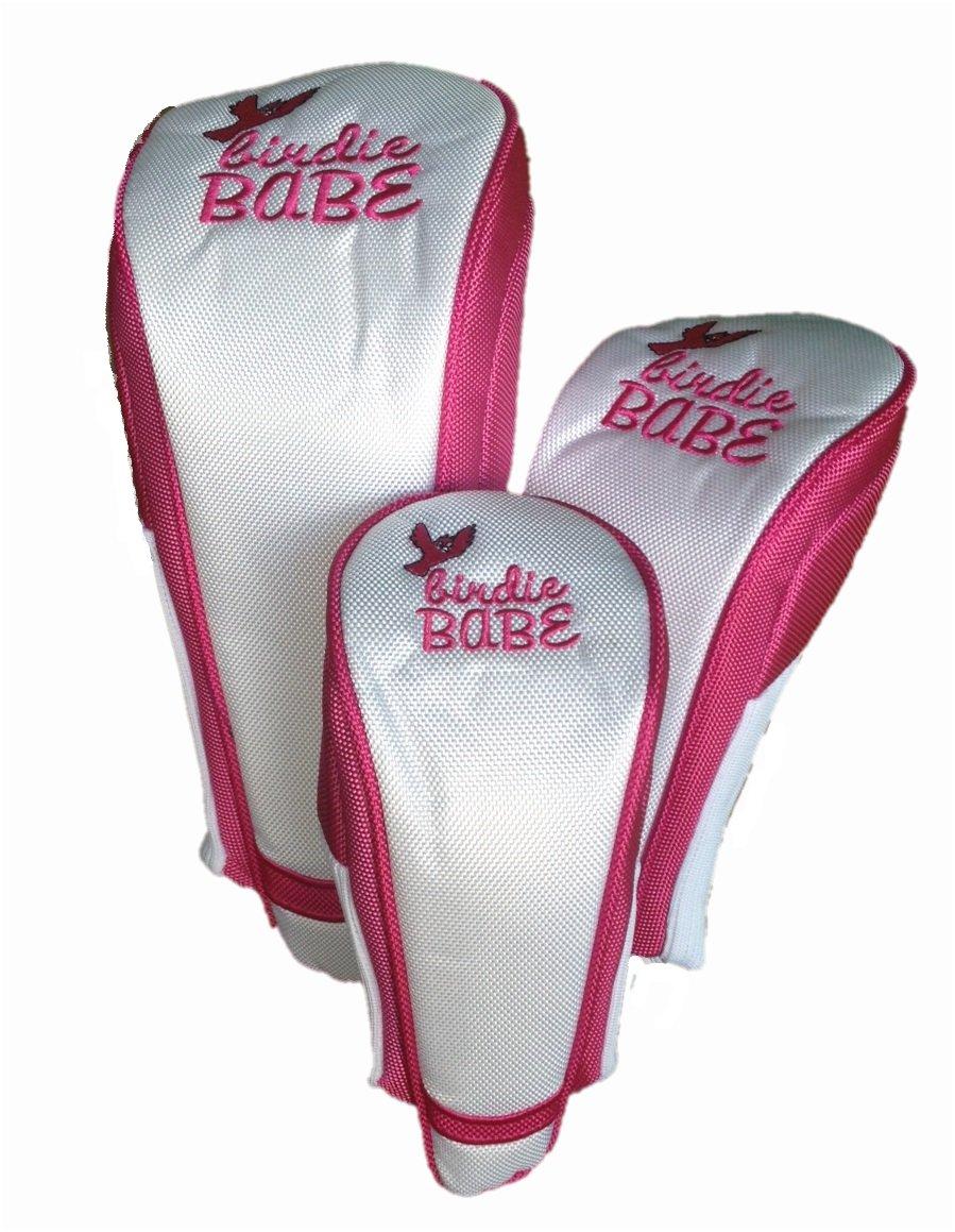 Birdie Babeゴルフクラブヘッドカバーの女性のセット3ホワイトとピンク   B00NWVGQZW