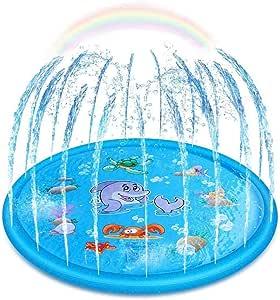 Upgraded Sprinkler for Kids, Sprinkler Pad & Splash Play Mat, Splash Pad, 170cm Toddler Water Toys Fun for 1 2 3 4 5 Year Old Boy Girl Children Infants Toddlers and Kids, Kids Outdoor Party Sprinkler Toy