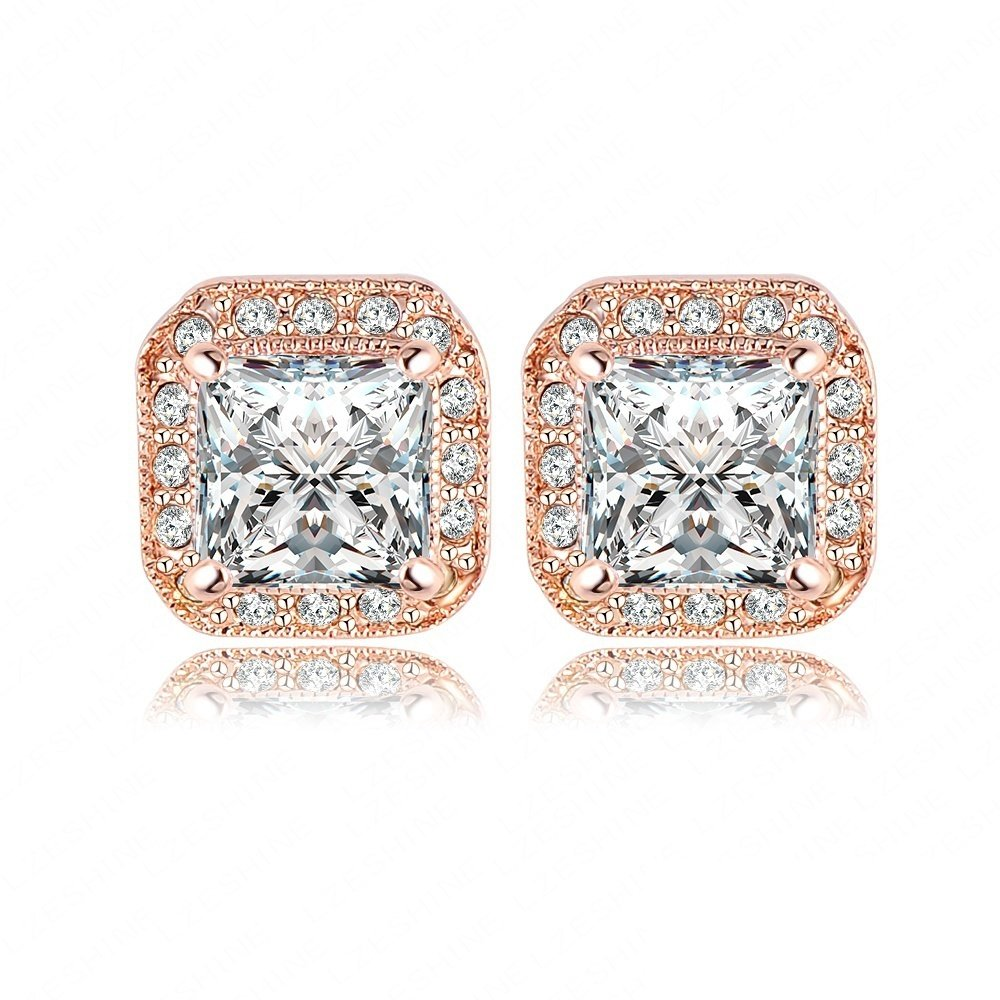 AnaZoz Jewelry 18K Gold Plated Square Stud Earring Rose Gold Plate/Platinum Plated SWA Elements Austrian Crystals Earrings by AnaZoz (Image #1)