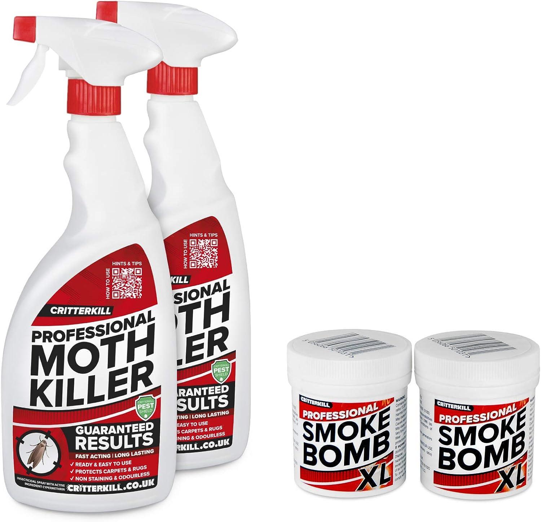 CritterKill 2 x 1 L Spray Profesional para Matar polillas + 2 x 15 ...