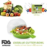 Salad Cutter Bowl Cuts Fruit or Vegetables in 60 Seconds - Dual Use Chopper(Green)