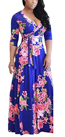 2d33d14a37 Women Summer Floral Boho V-Neck Evening Party Beach Dress Plus Size Ladies Casual  Long Short   3 4 Sleeve Maxi Sundress for Cocktail Wedding Holiday Wear ...