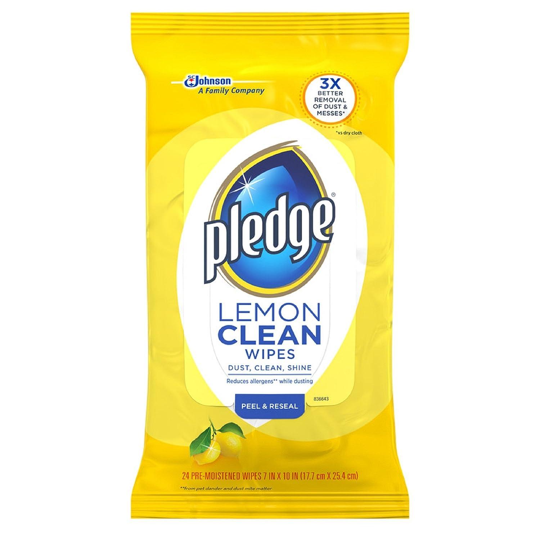 Pledge Lemon Scent Wet Wipes, Cloth, 7 x 10, White, 24/Pack