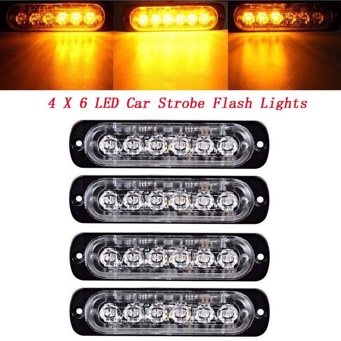 MASO Car Emergency Warning Light Amber Flashing Hazard Beacon for Trucks 4 LED Recovery Strobe Warning Flashing Light Car Lamp 12V//24V White 2 Pcs