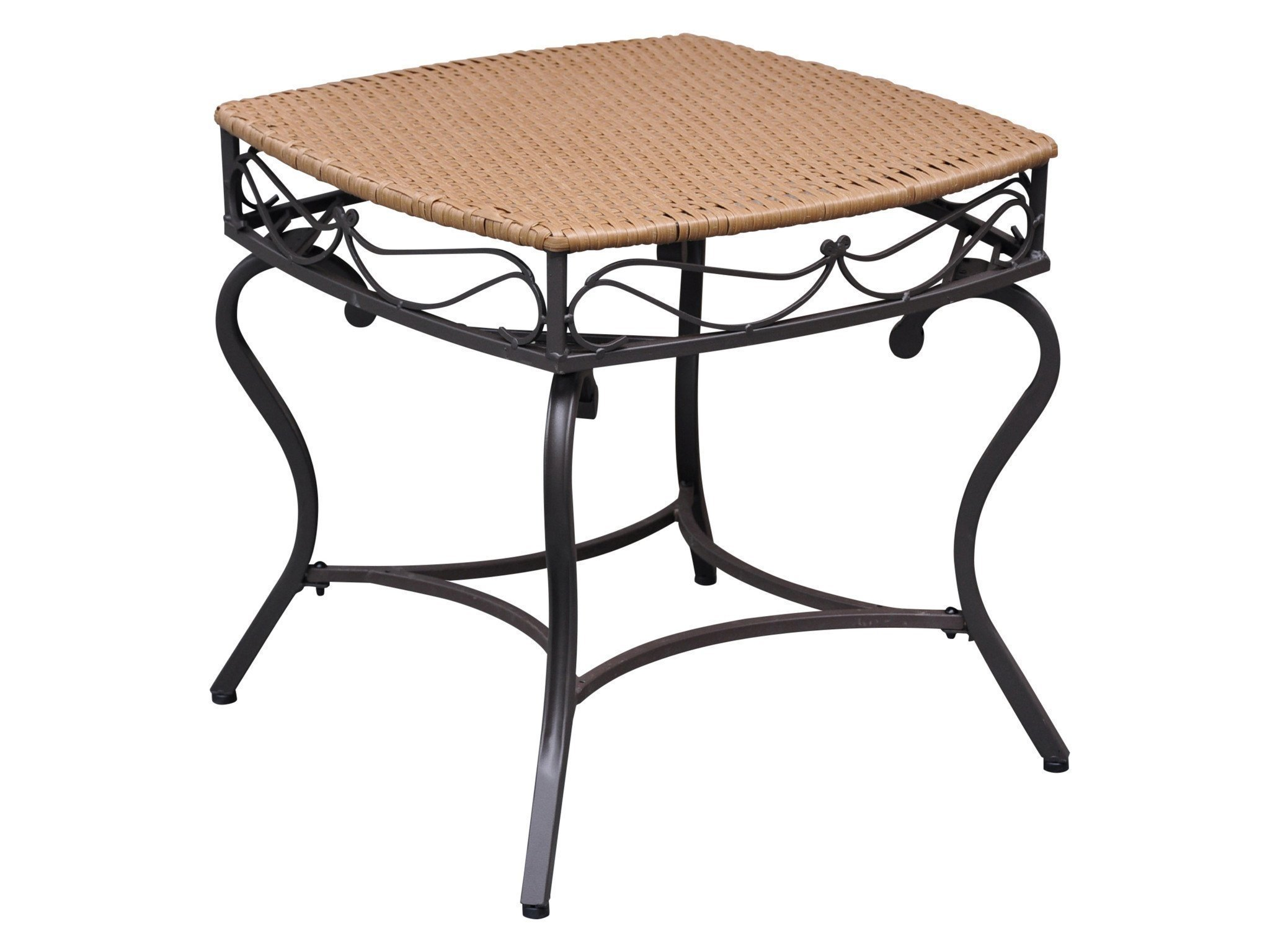 Wicker Resin/Steel Patio Side Table in Honey Finish