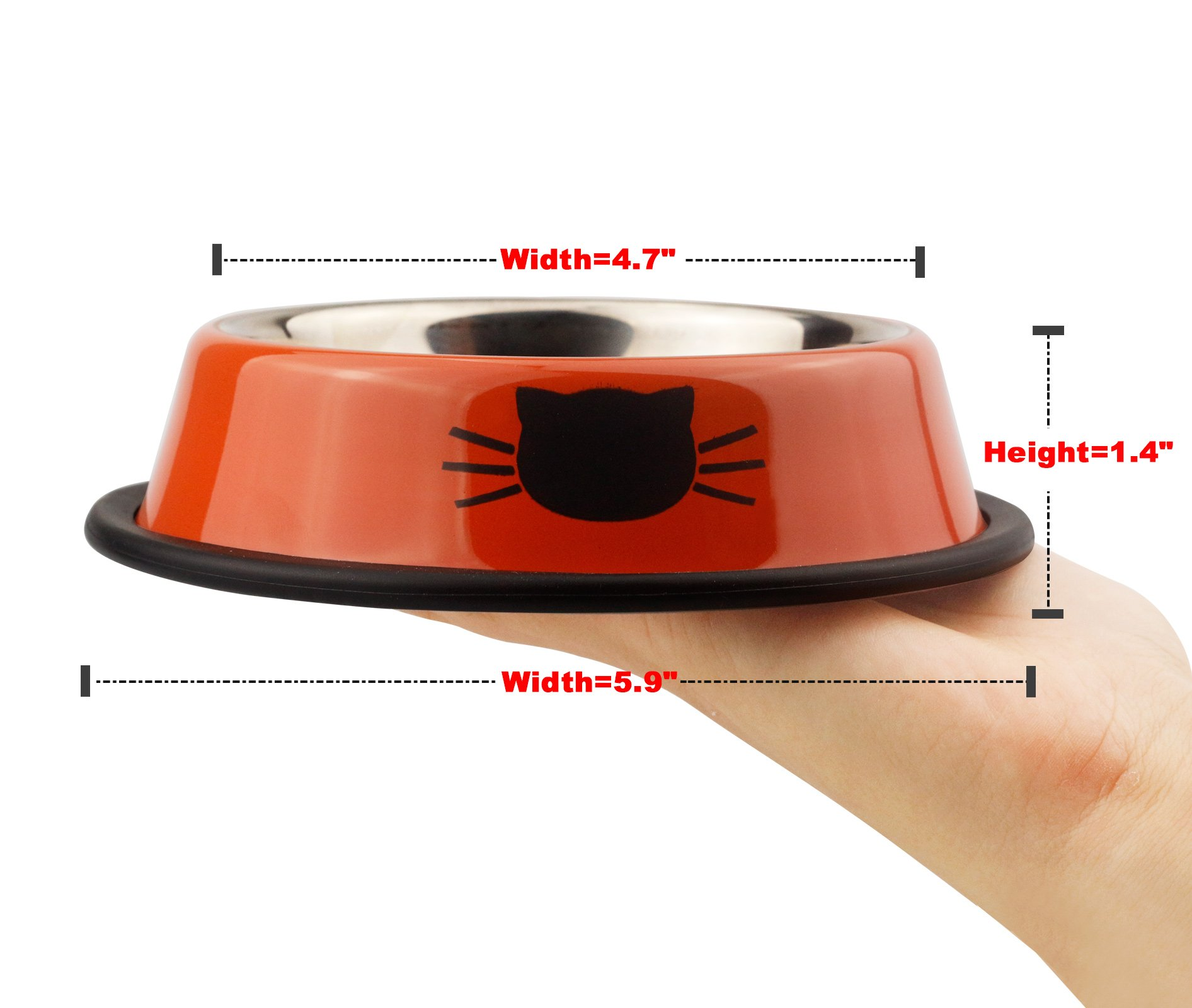 Ureverbasic Cat Bowls Stainless Steel Dog Bowl 8oz for Small Pets Puppy Kitten Rabbit Non-Skid Cat Food Bowls Easy to Clean Durable Cat Dish for Food and Water by Ureverbasic (Image #5)